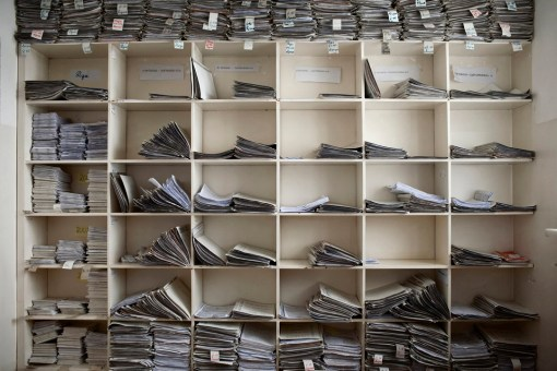 """The records department at Stepanakert Maternity Hospital. Each file represents a current or recently discharged patient. Any couple married after 1st January 2008 will benefit from the government's """"birth encouragement program"""" which gives cash payments for each baby born. Nagorno Karabakh, 2011."""