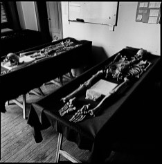 The remains of two bodies of political disappeared lay in the lab of the EAAF (Argentine Forensic Anthropology Team in spanish), in Buenos Aires to be studied and to try to match an identification. Buenos Aires, Argentina, January 2012.