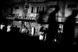 Pakistan, Abbottabad, april 2010: people waking on the street during a major powercut due by the energy crisis the country has fallen in.