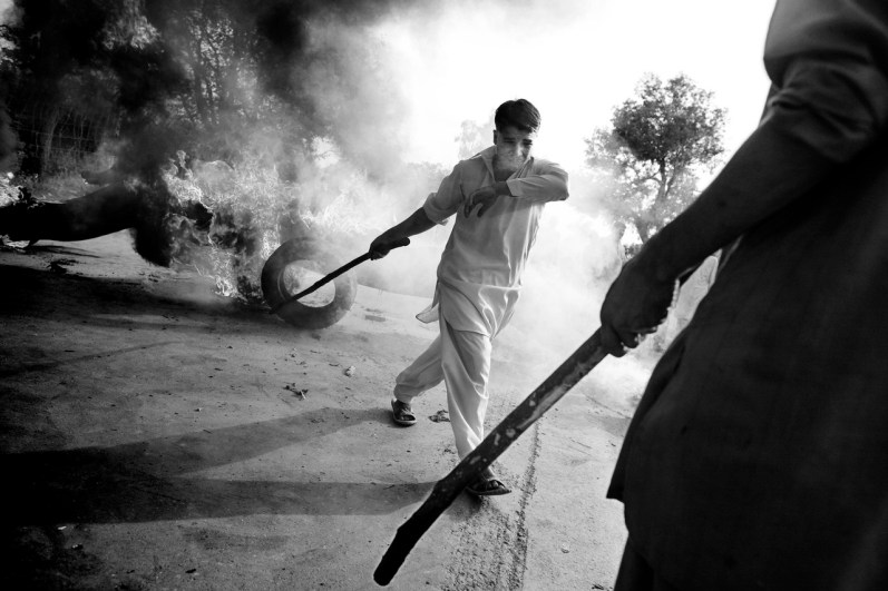 Pakistan, may 2010: a protest on the road to Abbottabad caused by a prolonged and unsheduled loadshedding. Huge number of protests related with the energy crisis had invested the country since the beginning of 2010 summer.