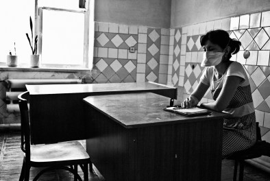 MSF psycho-social support counselor is waiting for her MDR-TB patients - those who live at home and come for daily checkups at the clinic. Nukus, polyclinic No. 2 Uzbekistan 2011