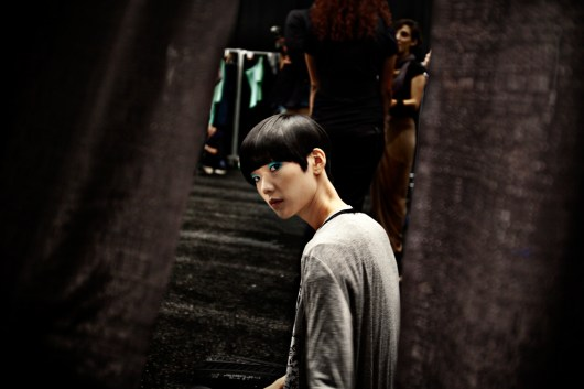 model tao in david delfin backstage, new york fashion week- sept 2009.