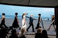 Karl Lagerfeld walks his Chanel his Cruise Fashion Show, Venice, 2009.