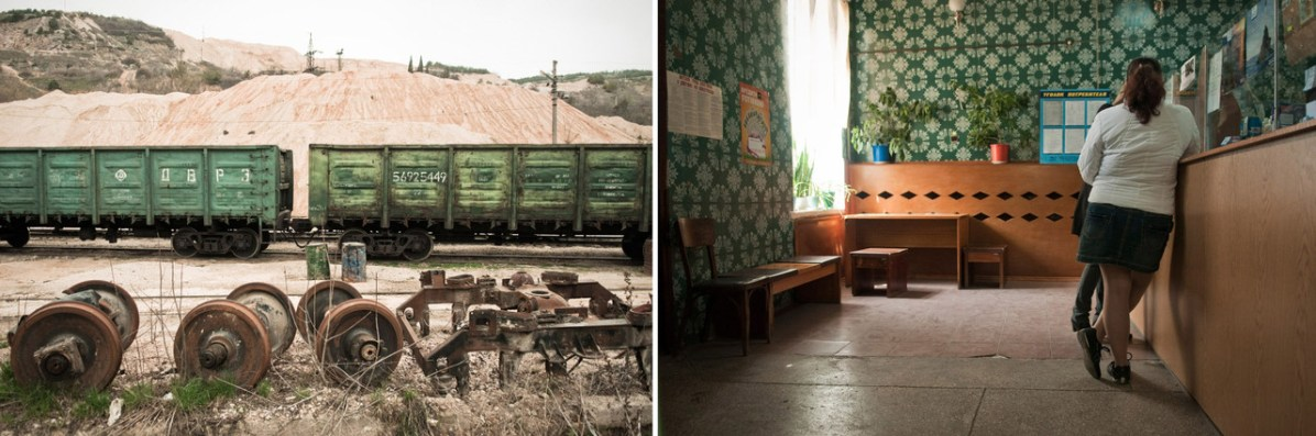 Left: A stone quarry in Balaklava is the main place to find a job nowadays after the collapse of the Soviet Union. Right: A Soviet style post-office in Balaklava.