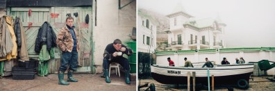 Left: Fishermen have their lunch after work. Nowadays a lot of people became fishermen to get some profit and fresh fish for themselves. Right: New built hotels are seen through the fog. The Ukrainian goverment is going to do Balaklava one of the most attractive touristic places.