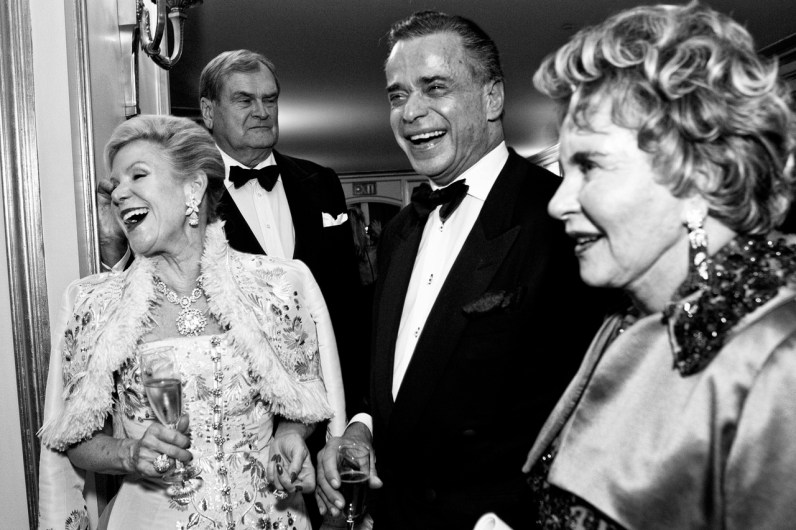 Philanthropist Dede Wilsey (left) talks with Boaz Mazour and Lucy Hamilton during intermission at the San Francisco Opera Opening Night Gala. Arts organizations in San Francisco rely on the patronage of wealthy donors for the majority of their funding and throw elaborate parties with the hope that making patrons feel part of a community will inspire large donations.