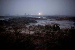 Dawn breaks over the TVA coal ash breach in Harriman, Tennessee on Saturday, January 3, 2009.
