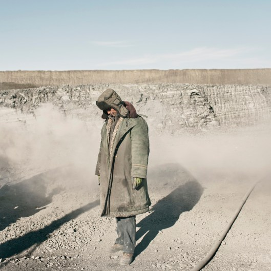 Mongolia, Gobi, Omongov, 2013 A Chinese miner in the Tavan Tolgoi coal mine.