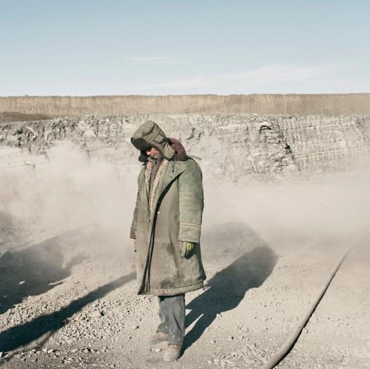Mongolia, Gobi, Omongov, 2013 A Chinese miner in the Tavan Tolgoi coal mine.