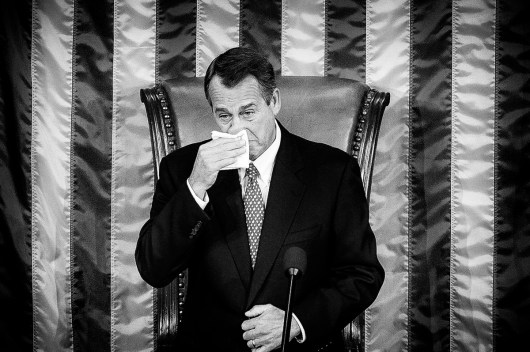 Rep. John Boehner (R-OH) wipes a tear while delivering remarks after being elected to a second term as Speaker of the House with 220 votes at the U.S. Capitol in Washington, District of Columbia, U.S., on Thursday, Jan. 3, 2013.