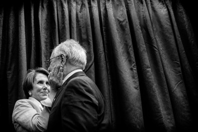 House Minority Leader Nancy Pelosi (D-CA) and former House Financial Services Committee Chairman Barney Frank (D-MA) share a moment during an unveiling ceremony for Frank's portrait Tuesday on Capitol Hill.
