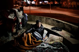2011. Athens. Greece. Migrant from Morocco , 17 years old, sleep in street in Gazi Area.
