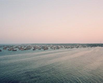 Rameswaram, l'Žconomie de la ville repose exclusivement sur la pche. Flottille au coucher du soleil.
