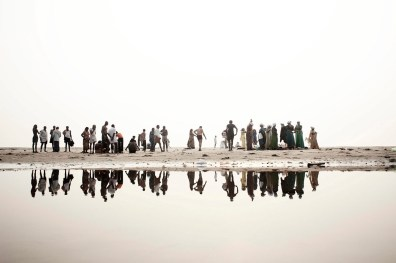 Hindu devotees' Along the banks of the river Ganges, get ready to soak in the water of the sacred river, India 2008.