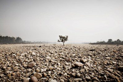one of the tributaries of the Ganges near Haridwar completion dry during the hot season, India 2009