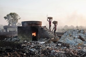 Chemical and waste spills from one of the tanneries of Kolkata, pour into the Ganges, India 2013.