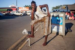 Masikhandi musician (Zulu traditional musician) from St Lucia. 2014