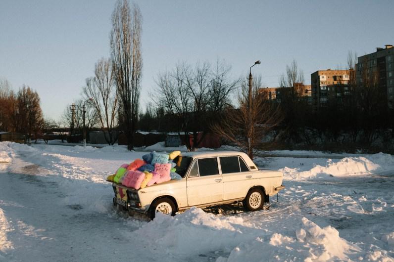 Cushion stall, Donetsk, February 2014