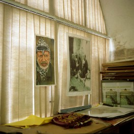 A poster of Yasser Arafat inside the print section of Industrial Islamic Orphanage School in the Old City Muslim quarter of Jerusalem.