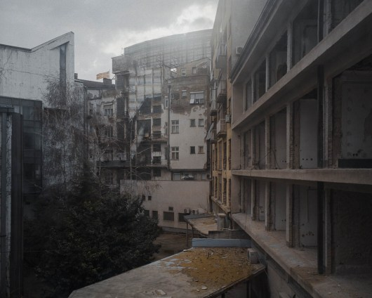 13.02.2013, Skopje, Macedonia. The facades of properties in the strict centre were transformed to align the new, neoclassical appearance of the town, while most of the yards remained in ruin.