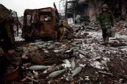 The bodies of UA army soldiers laying outside the old Donetsk airport terminal. the airport has been the scene of heavy fighting between Pro Russia rebels and UA army for the past 8 months.