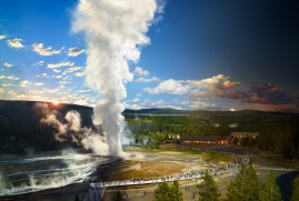 Old Faithful, Yellowstone National Park, Wyoming, Day to Night, 2015