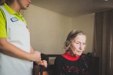 After arrival at the retirement home, a nurse explained the daily routines and activities to Helga. Helga had been living by herself for over 40 years. Adopting to her new surroundings - including having a room mate for the first time in her life - proved very difficult for her. Wegberg, GERMANY, May 29, 2015.