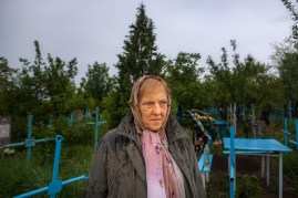"Nina Postica, a former deportee to Siberia, and her family go to visit her brother and mother in her parents' home village of Nemteni on the border with Romania for Pastele Blajinilor, an orthodox portion of the Easter celebration where families go to the gravesites of loved ones with food wine and offerings, blessing the gravesites with their memories. Nina's family was deported to Tyumen, Russia, in Western Siberia, in 1941 during the first wave of deportations in Moldova. The first wave of deportations was aimed at intellectuals and political disidents and ranged from 1939 until 1941. The second wave was directed at economically higher casts of people and took place in the late 1940's. Nina's father was sent to the gulag from which he was later released and joined his family in Tyumen after Stalin's death. Nina was born in Tyumen shortly after her father's return. When remembering what happened to her and her family, Nina says, ""May this never repeat… May future generations never go through such unjust events… For this for was an injustice… an injustice… May it never happen again…"" ""So few of us remain… From those who were taken away… Who were so wrongfully taken away. They should give them justice!"" Says Nina. Nina lives with her husband, Ion, who was also deported with his family at the age of 3."