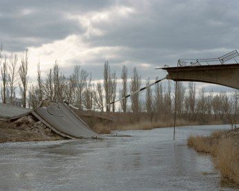 A bridge in Semenivka - one of the first front lines. Semenivka, ATO zone (war zone), March 2015, Ukraine.