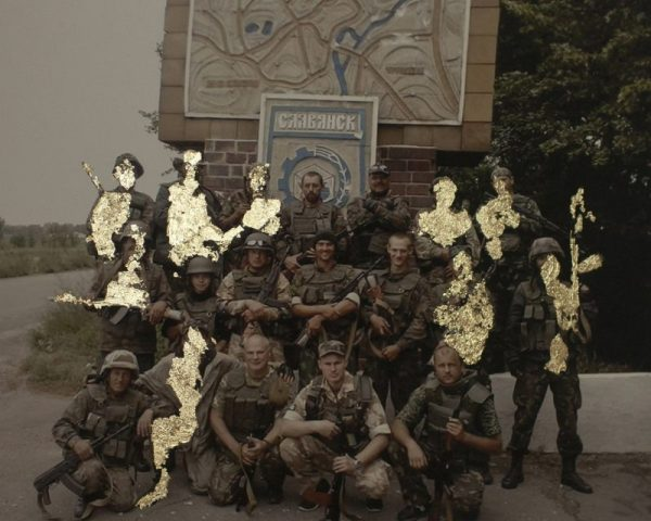 """The squad of nine killed and eight wounded.? Most of the voluntary soldiers during the first months of the war were not registered. Therefore it is hard to estimate the actual number of deaths and injuries. Collage on picture from the mobile phone's archive of one soldier. 2015, Ukraine."