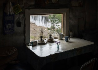 Spring view from the window cabin (Hunter's house / Hunting lodge). Katangsky District, Irkutsky region. Russia, 2017