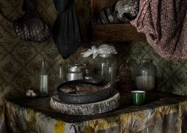Crucian and the summer kitchen in the old house of the grandmother Marusya. Katangsky District, Irkutsky region. Russia, 2017