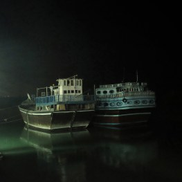 Two Lenje ships at a port in Qeshm.