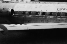 An aircraft of JAT airways (Yugoslav airways) used from 1963 to 1994 are shown in the backyard of The aviation museum of Belgrade.