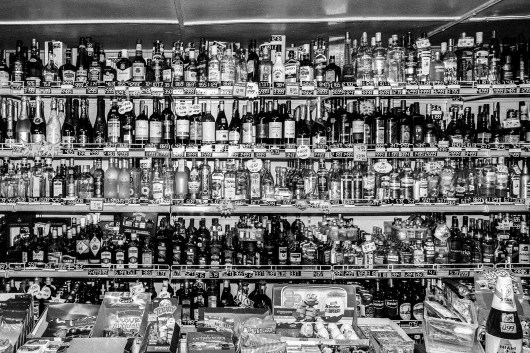 A shelf with alcohol bottles in a small shop in Varena, the district with the highest suicide rate in Lithuania. According to the WHO, Lithuania is one of the countries with the highest levels of alcohol consumption in the world. Lithuania, Varena, 25th of February 2016.