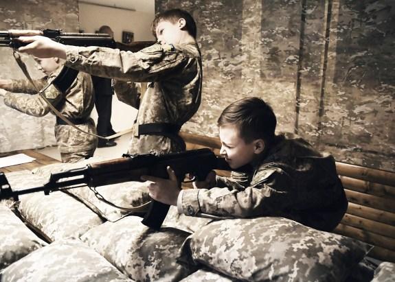 Young boys training their shooting skills, military boarding school, Kiev.