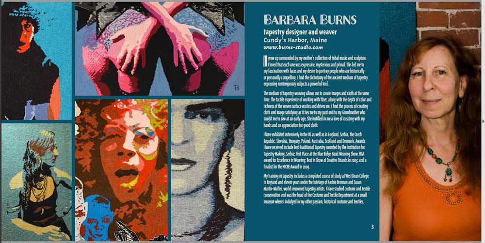 Barbara's page in Fiberart Masters book