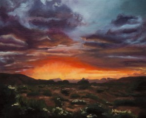 "8x10 oil painting by Amber Honour ""Moab Valley Sunset"""