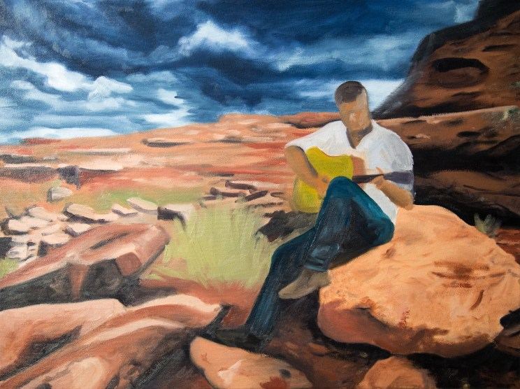 Guitar Player in the Desert Oil Painting In Progress