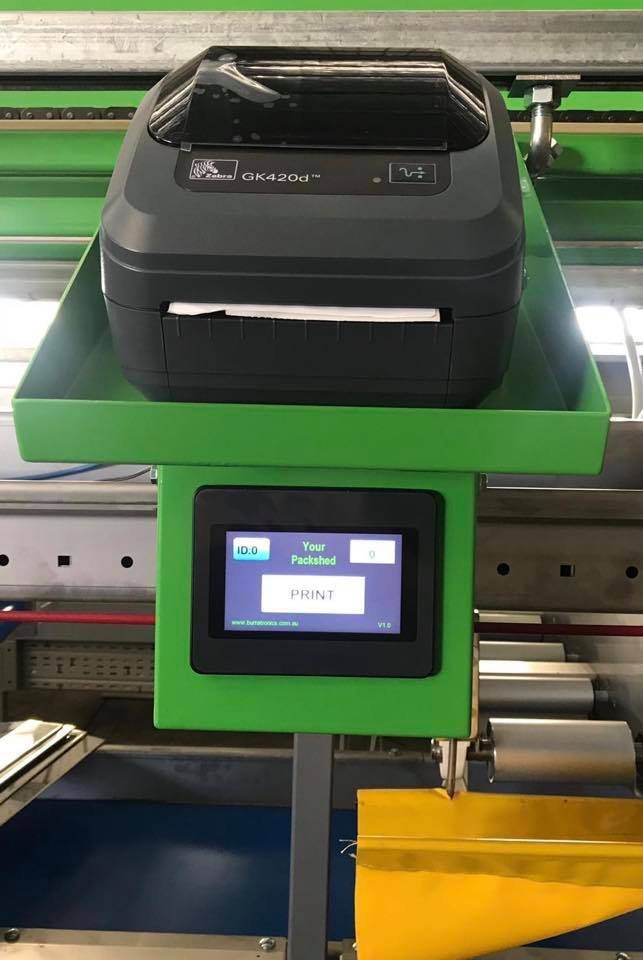 BurraLabel Fruit Traceability System on-grader touchscreen keypad and printer station
