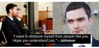 Adam Johnson Deletes Lionel Messi From Facebook