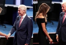 Bill Clinton Melania Trump at first 2016 debate