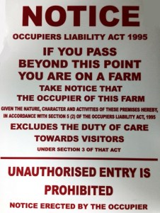 farm sign notice occupiers liability act 1995