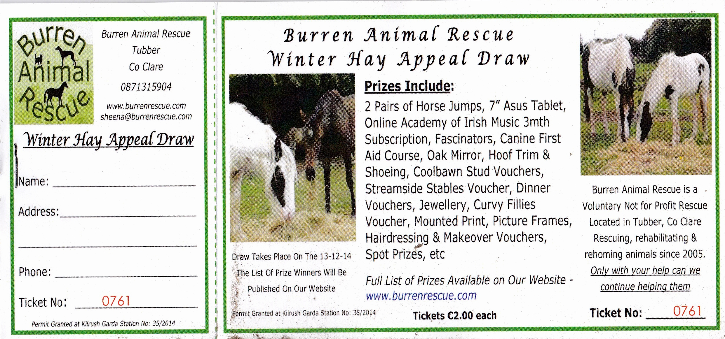 Winter Hay Appeal Prize Draw 2014