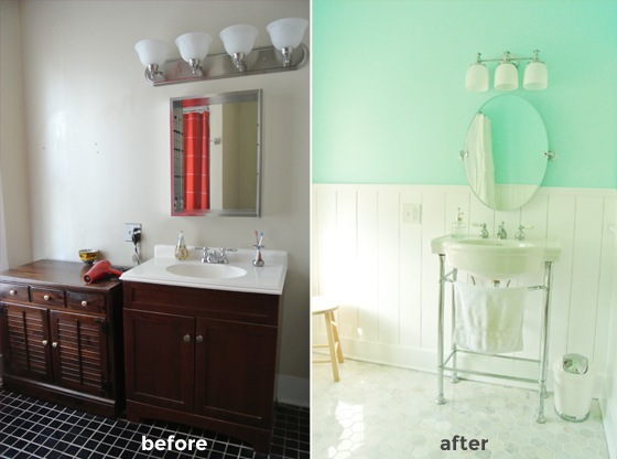 before and after, an urban cottage master bathroom renovation on BurritosandBubbly.com