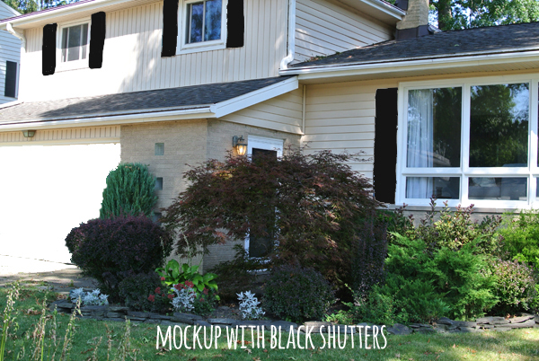 Mockup of our house with black shutters