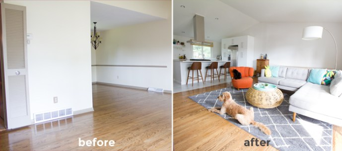 Burritos and Bubbly living room -- before and after!