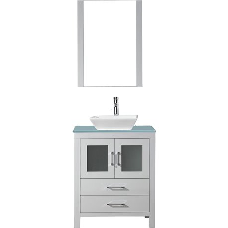 dior 28 single bathroom vanity in white with aqua tempered glass top and square sink with polished chrome faucet and mirror