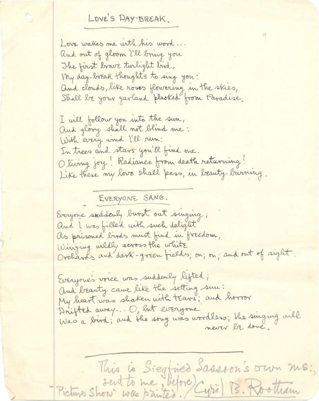 Love's Day-Break by Siegfried Sasson - a poem, the original manuscript.