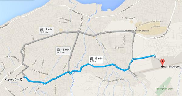 peta-bandara-el-tari-ke-kota-kupang